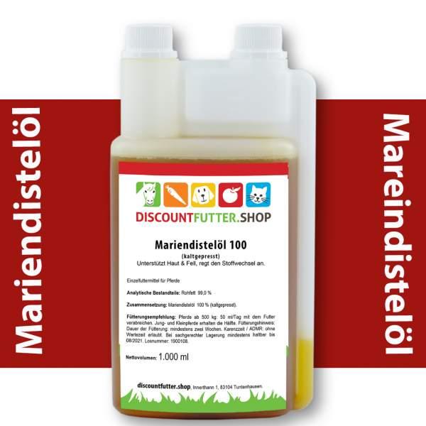 Mariendistelöl für Pferde 1 Liter Dosierflasche